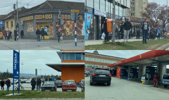 GUŽVE ispred marketa, apoteka, banaka, pa i samouslužnih autoperionica (FOTO)