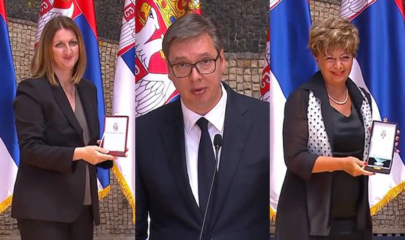 "Vučić odlikovao Spomen park ""Kragujevački oktobar"" i dr Ružicu Radojević Marjanović iz UKC Kragujevac (FOTO)"