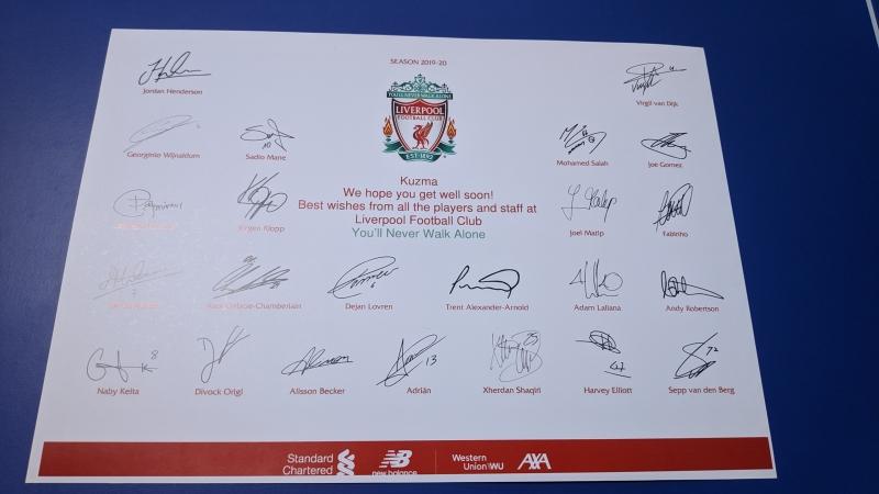 FC LIVERPOOL podržao humanitarnu akciju ZA KUZMU: Stigli potpisi svih igrača, uskoro i dres za aukciju (FOTO)
